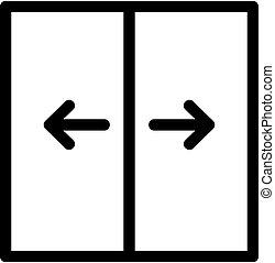 vector., kontur, symbol, illustration, ikon, hiss, isolerat, dörr