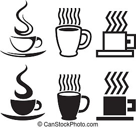 vector, kop, koffie stel, iconen