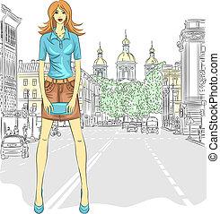 vector, kort, modieus, koppeling, straat., zak, straat, aantrekkelijk, meisje, rok, petersburg