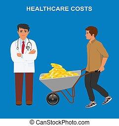 vector, kosten, arts, illustratie, hoog, bezoeken, gezondheidszorg, duur