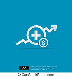 vector, kosten, illustration., uitgeven, of, gezondheidszorg, gezondheid, plat, geneeskunde, concept., expenses., ontwerp, duur