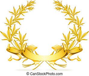 vector, krans, goud