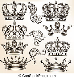 vector, kroon, verzameling, gedetailleerd