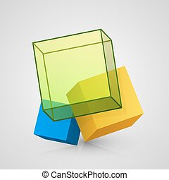 vector, kubus, ontwerp, 3d