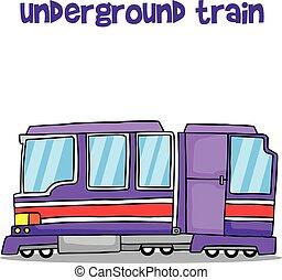 vector, kunst, van, ondergrondse trein, vervoeren