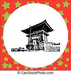 vector, kyoto, budista, cuento dos, aislado, pagoda, ...