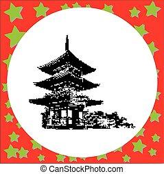 vector, kyoto, budista, tres, piso, aislado, pagoda, ...