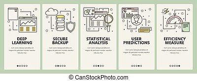 vector, línea fina, plano, diseño, datos, ciencia, concepto, banderas verticales