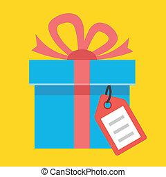 vector, label, cadeau, pictogram