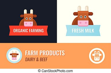 Vector Label for Cow Farm. Cartoon Cow Mascot with Captions on different background