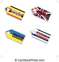 vector label Made in Uganda, United Kingdom, Ukraine, Uruguay,