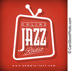 Jazz Radio - Vector Label or Poster for Online Jazz Radio