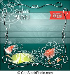 Vector  label with seafood silhouette crab, shrimp,  lemon and d