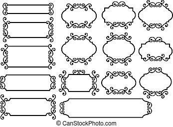 labels with floral ornament, vector design elements
