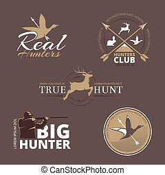 Vector labels with duck, deer, hare, gun and hunter