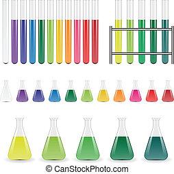 vector, laboratorio, frascos, y, probetas