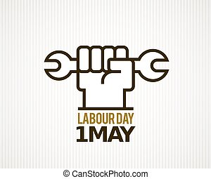 Vector Labour Day - Vector raised hard clenched fist with...