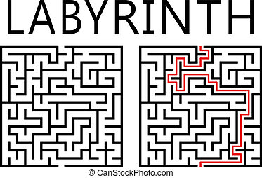 Vector labyrinth with solution on white background