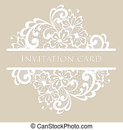 Vector lace card. Vintage white ornament.