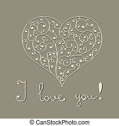 "vector lacy heart with hand written text ""I love you"""