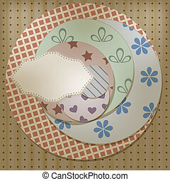 vector lacy napkin on retro circle patterns, can be used separately