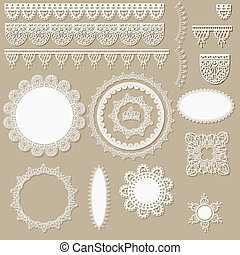 vector lacy scrapbook design elements, can be used as...