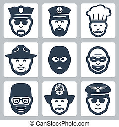 vector, ladrón, policía, iconos, profesión, guardabosques, capitán, oficial, cirujano, chef, anti-terrorist, bombero, set:, piloto