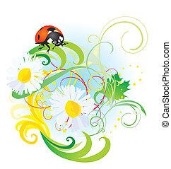 vector ladybird on daisy flower summertime illustration