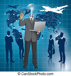 Idea travel concept. Vector lamp head business man shows something with his finger