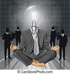 Vector Lamp Head Businessman in Lotus Pose Meditating