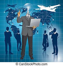 vector, lamp, hoofd, zakenmens , optredens, iets, met,...