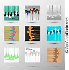 vector, lampen, abstract, set, achtergronden
