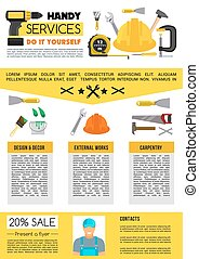 Vector landing page for home repair handy service