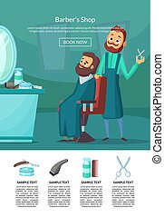 Vector landing page illustration with barber doing a haircut...