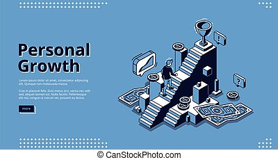 Vector landing page of personal growth
