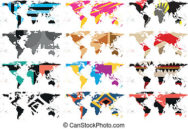 vector, landkaarten, abstract, set, wereld