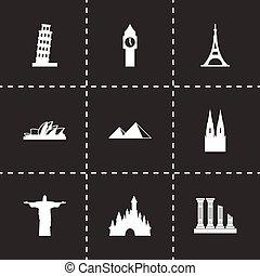 Vector landmarks icon set