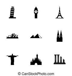 Vector landmarks icon set on white background