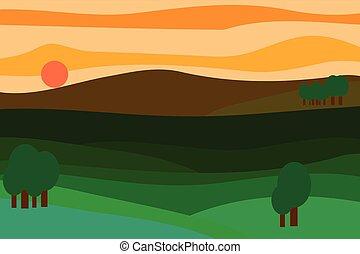Vector landscape at sunset