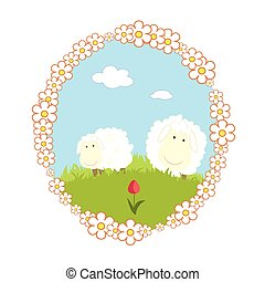 Vector Landscape background with house and cartoon sheep