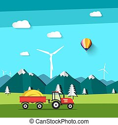 Vector Landscape. Field with Tractor and Wind Mill with Mountains on Background.