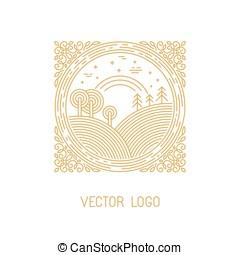 vector, landscape, illustratie, in, lineair, stijl