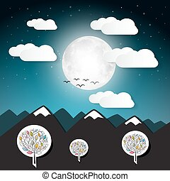 Vector Landscape Illustration with Full Moon and Mountains