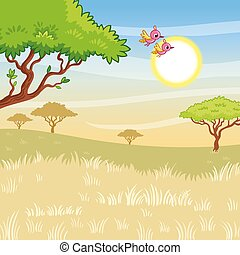 Vector landscape illustration with sunny savanna and birds. Cute picture on the theme of summer in cartoon style.