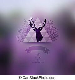 Vector landscape, nature web and mobile template. Corporate website design. Multifunctional media backdrop. Deer head. Vector blurred background. Triangle floral badge label. Arrows. Hipster. Purple.