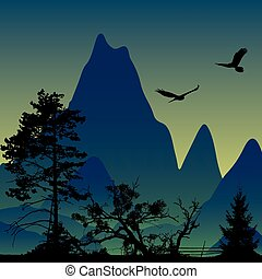 Vector landscape. Panorama of mountains. Flying eagles.