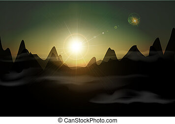 vector landscape with a rising sun