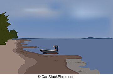 Vector landscape with a river.
