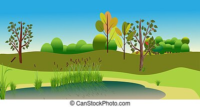 Vector Landscape with attractive view lake and forest. Reed plants and sand on the lake beach