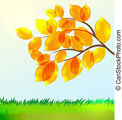 Vector landscape with Autumn leaves